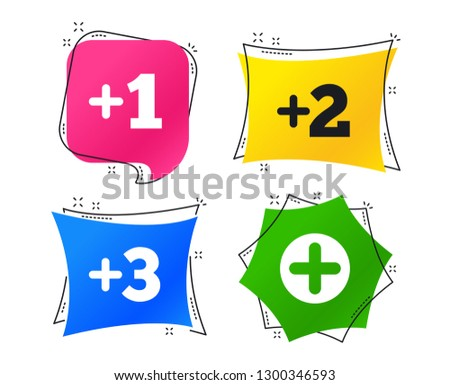 Plus icons. Positive symbol. Add one, two, three and four more sign. Geometric colorful tags. Banners with flat icons. Trendy design. Vector