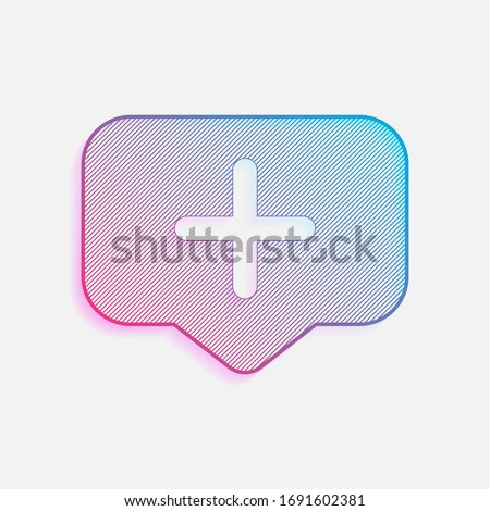 Plus in notification cloud, sign of add or reminder, social icon. Colored logo with diagonal lines and blue-red gradient. Neon graphic, light effect