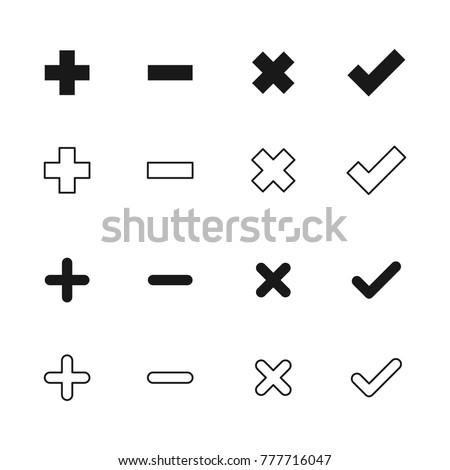 Plus, Minus, Deny, Agree / Confirm Set Icon Vector Template