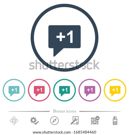 Plus one sign flat color icons in round outlines. 6 bonus icons included.