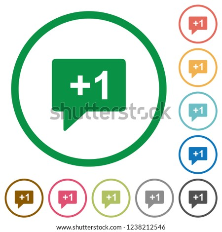 Plus one sign flat color icons in round outlines on white background