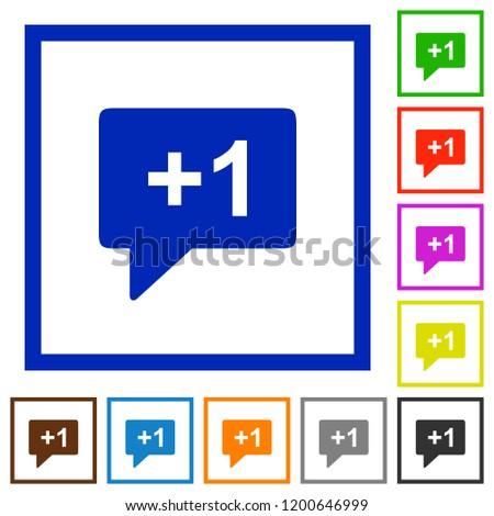 Plus one sign flat color icons in square frames on white background