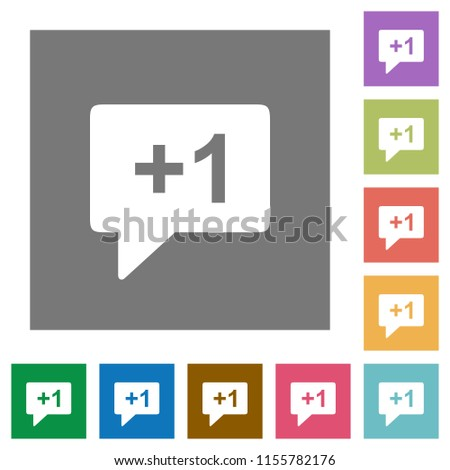 Plus one sign flat icons on simple color square backgrounds