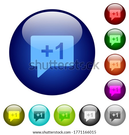 Plus one sign icons on round glass buttons in multiple colors. Arranged layer structure