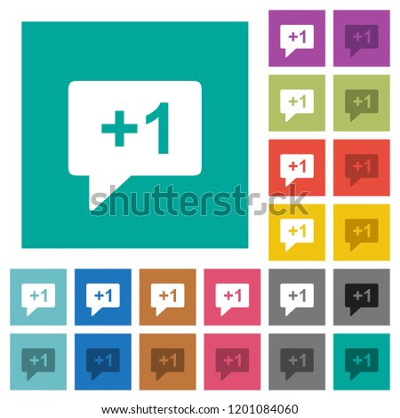 Plus one sign multi colored flat icons on plain square backgrounds. Included white and darker icon variations for hover or active effects.