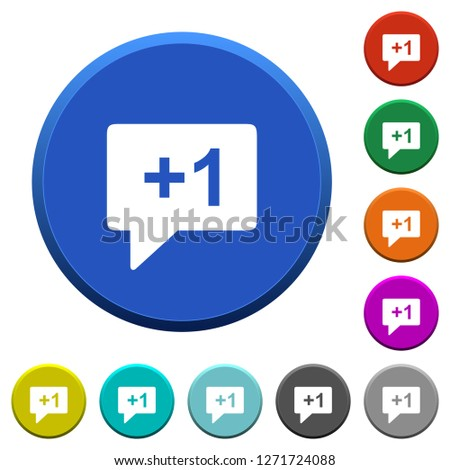 Plus one sign round color beveled buttons with smooth surfaces and flat white icons