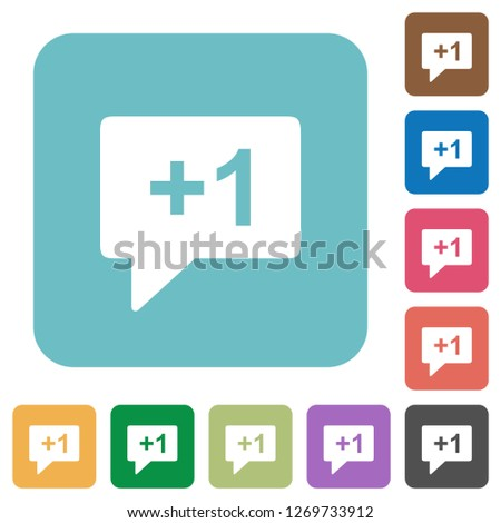 Plus one sign white flat icons on color rounded square backgrounds