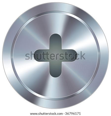 Plus or add math symbol icon on round stainless steel modern industrial button suitable for use as a website accent, on promotional materials, or in advertisements.