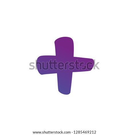 Plus or cross symbols. hand painted plus cross sign isolated on a white background. Vector illustration.