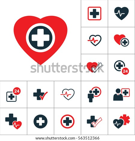plus sign inside heart icon, medical signs set on white background