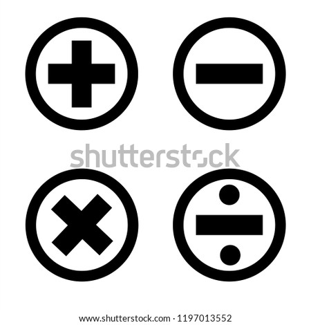 Plus sign, minus sign, multiplication sign, and division sign Black circle icon, vector, featured on a white background.