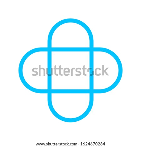 plus sign stroke line blue color for button, cross sign rounded corner simple, icon plus sign with square shape, blue plus cross button flat, icon square plus shape and corner curve outline stroke