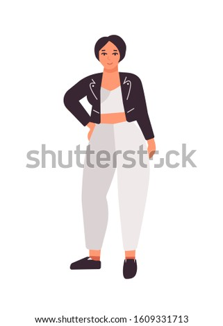 plus size dark haired girl flat