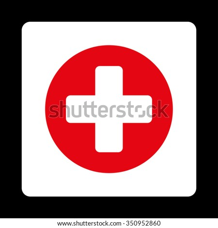 Plus vector icon. Style is flat rounded square button, red and white colors, black background.
