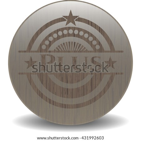 Plus vintage wooden emblem
