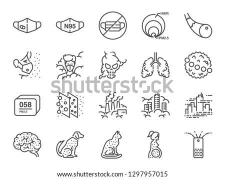 PM2.5 Air pollution line icon set. Included icons as smoke, smog, pollution, factory, dust and more.