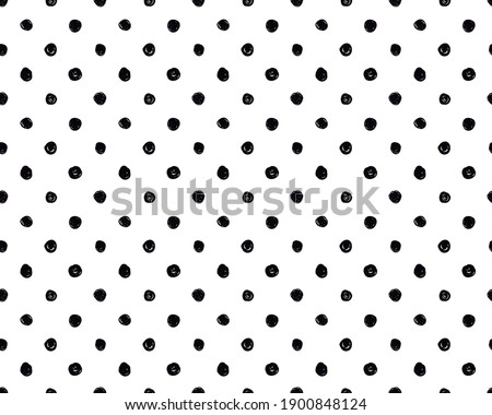 poa, seamless black polka dot pattern, black circles, black and white, scribbled circles