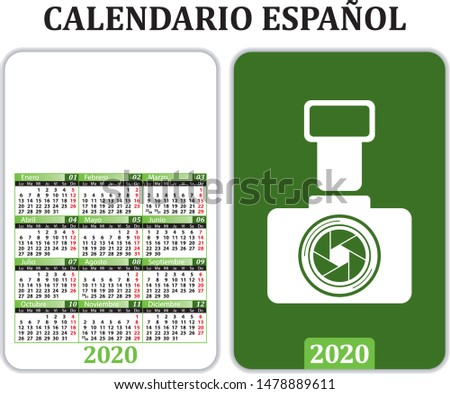Pocket Calendar for 2020 in Spanish, with space for publicity and image.