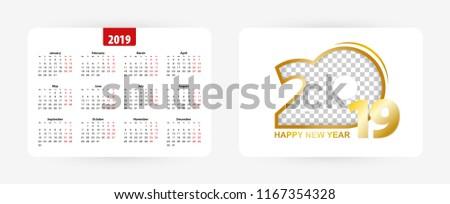Pocket calendar 2019, vector illustration.