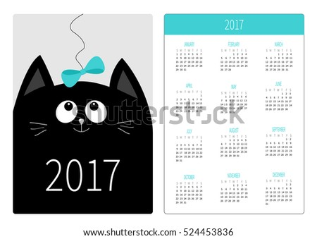 pocket calendar 2017 year week
