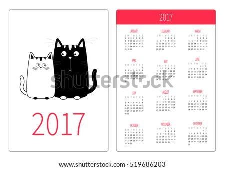 pocket calendar 2017 year week