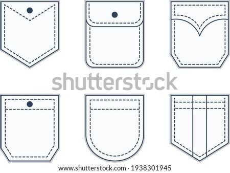 Pocket patches. Textile uniform pockets shapes for clothes bag vector pictures collection Stock foto ©