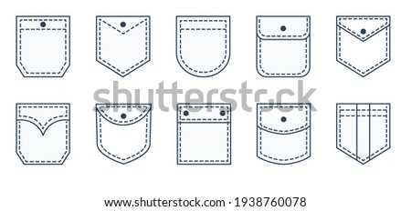 Pocket patches. Textile uniform pockets shapes for clothes bag vector pictures collection Foto stock ©