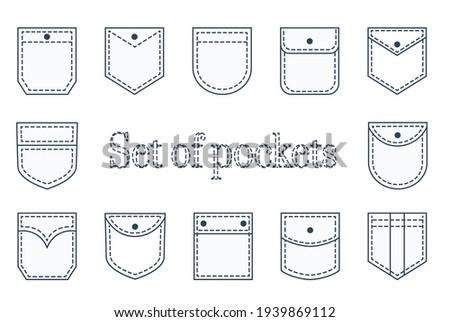 Pocket patches. Textile uniform pockets shapes for clothes bag vector pictures collection.  Foto stock ©