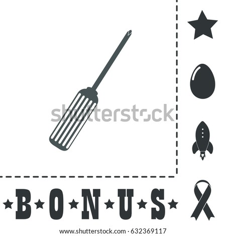Pocket phillips screwdriver. Simple flat symbol icon on white background. Vector illustration pictogram and bonus icons