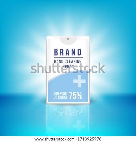 Pocket Spray Bottle Credit Card Spray Bottle mockup label design vector graphic template hand sanitizer