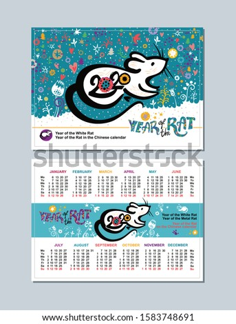 Pocket two sided calendar for the year 2020 with a beautiful illustration of the white Rat on a bright background. Can scale in 100 х 70 mm of the field for pruning 2 mm on each side.  Сток-фото ©