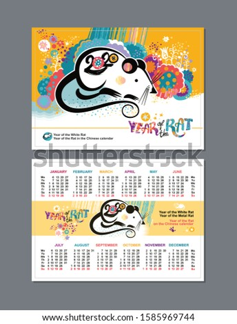 Pocket two sided calendar for the year 2020 with a beautiful illustration of the white Rat on a floral background of stylized vibrant nature. Can scale in 100 х 70 mm of the field for pruning 2 mm Сток-фото ©
