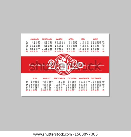 Pocket two sided calendar for the year 2020 with a Rat with a coin on a red background. Can scale in 100 х 70 mm of the field for pruning 2 mm on each side.  Сток-фото ©