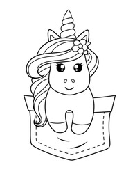 Pocket unicorn. Black and white vector illustration for coloring book