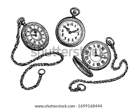 Pocket watch set. Ink sketch isolated on white background. Hand drawn vector illustration. Retro style. Foto d'archivio ©