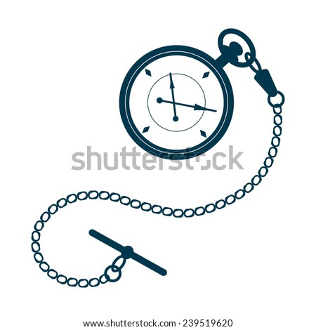 Pocket watch with chain isolated on white background. Foto d'archivio ©