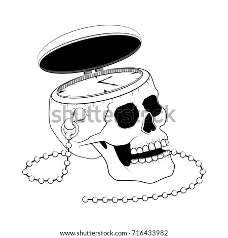pocket watch with human skull