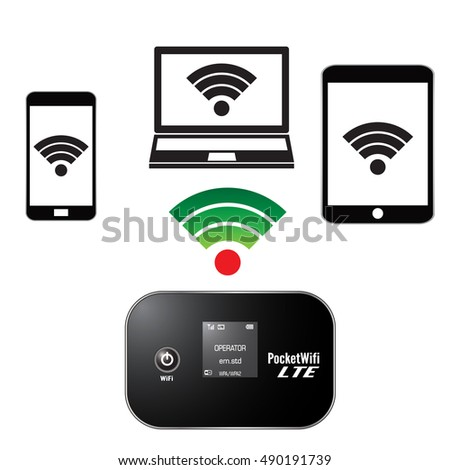 Vector Images, Illustrations and Cliparts: pocket wifi or