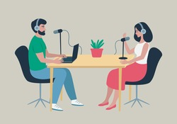 Podcast at studio. Male radio host interviewing female guest on radio station. People in headphones talking at the table. Broadcasting, podcasting vector illustration for website, web banner, etc