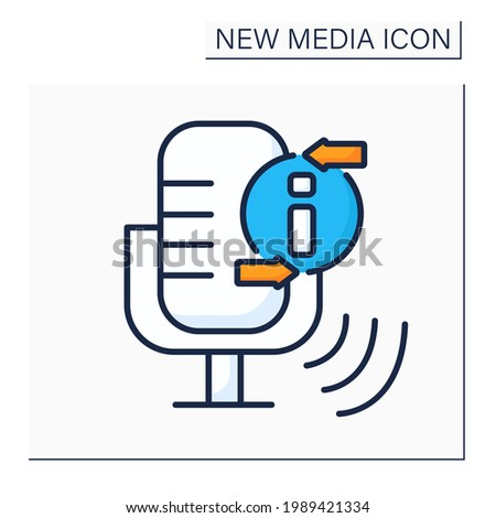 Podcast color icon.Episodic series of spoken word, digital audio files. Audio discussion recording.Information space.New media concept. Isolated vector illustration Stock photo ©