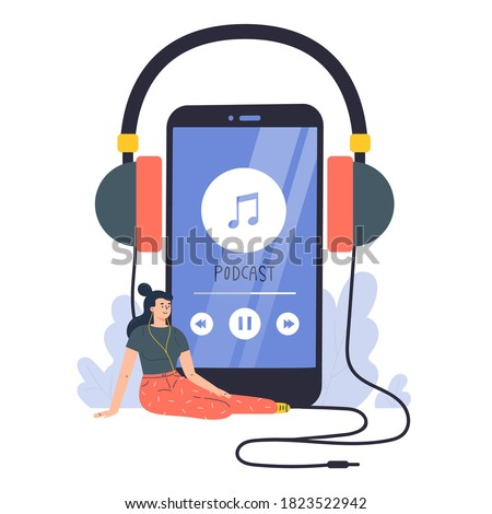 Podcast concept illustration.Webinar,online training.Young woman listening to podcast on phone.Concept for web landing page template,banner,flyer.Vector flat illustration on white background