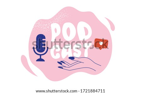 Podcast Cover art design. Line art. Microphone icon. Vector
