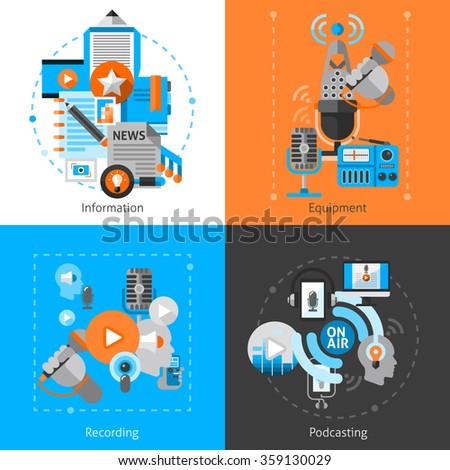 Podcast design concept set with recording information and equipment flat icons isolated vector illustration