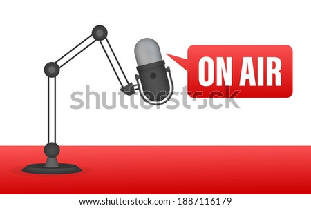 Podcast icon like on air live. Podcast. Badge, icon, stamp, logo. Radio broadcasting or streaming. Vector illustration. Zdjęcia stock ©