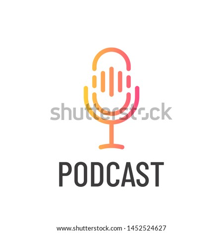 Podcast icon or logo design. Microphone in lina art style. Vector