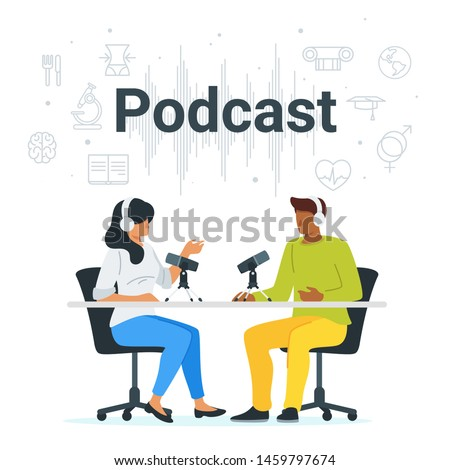 Podcast in studio flat vector illustration. Female radio host interviewing guests on radio station cartoon characters. Man and woman in headphones talking. Mass media broadcasting