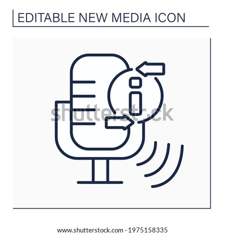 Podcast line icon.Episodic series of spoken word, digital audio files. Audio discussion recording.Information space.New media concept. Isolated vector illustration.Editable stroke Stock photo ©