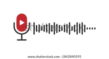Podcast microphone. Trendy design. Flat design microphone. Concept Podcast illustration. Vector illustration