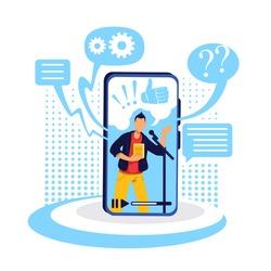 Podcast on smartphone flat concept vector illustration. Conversational show on internet. Popular content creator. Online show host 2D cartoon character for web design. Webinar creative idea