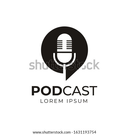 Podcast or Radio Logo design using Microphone and Bubble chat or talk icon